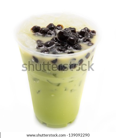 bubble tea green isolated on white - stock photo