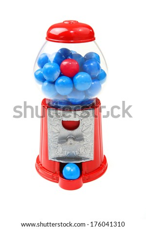 Bubblegum machine with one red bubblegum piece - stock photo
