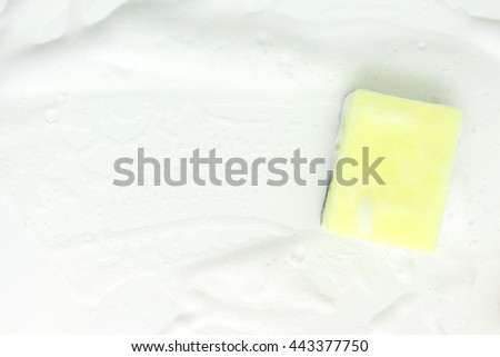 Bubbles foam white washing cleaning sponge - stock photo