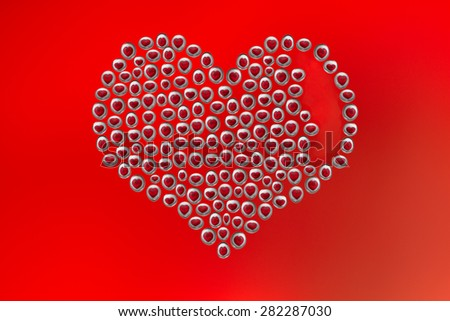 Bubbles heart on a red background