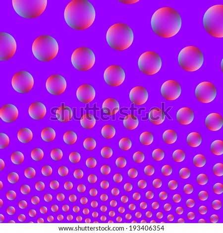 Bubbles in Pink and Blue / A digital abstract fractal image with a rising bubble design in pink, red and blue on a violet background.