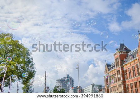 bubbles in the air outdoors in Amsterdam - stock photo