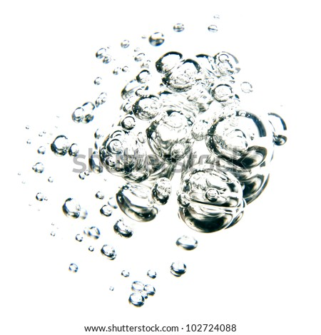 bubbles of water over white background - stock photo