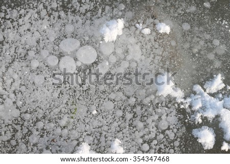 Bubbles under ice, formation of ice on the river, a natural background