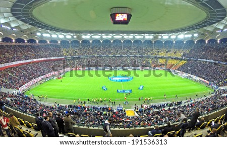 BUCHAREST - APRIL 17: Beginning of a soccer match between Dinamo and Steaua Bucharest. On April 17, 2014 in Bucharest, Romania
