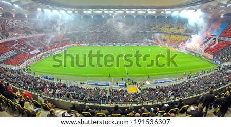 BUCHAREST - APRIL 17:  National Arena stadium full with crowd of supporters during a match between Dinamo and Steaua Bucharest. On April 17, 2014 in Bucharest, Romania