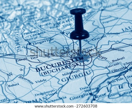 Bucharest  destination in the map - stock photo