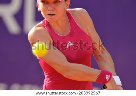 BUCHAREST - July 9: Simona Halep in action during the first round of the WTA BRD Bucharest Open, July 9 2014, Bucharest, Romania