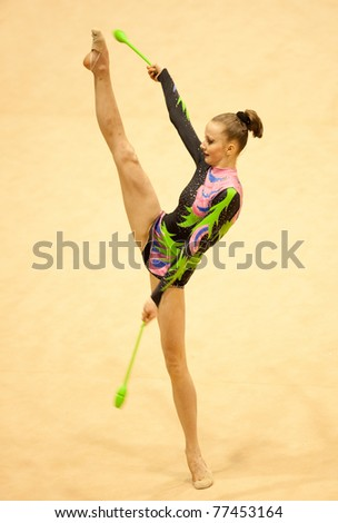 BUCHAREST, ROMANIA - APRIL 3: Diana Valeanu performs during the Irina Deleanu Orange Trophy on April 3, 2011 in Bucharest, Romania - stock photo