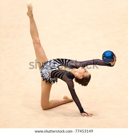 BUCHAREST, ROMANIA - APRIL 3: Federica Febbo performs during the Irina Deleanu Orange Trophy on April 3, 2011 in Bucharest, Romania - stock photo
