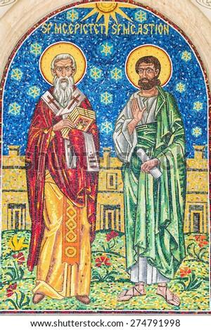 BUCHAREST, ROMANIA - APRIL 28, 2015: Jesus Christ Apostles Mosaic In The Church Of 1989 Revolution Martyrs. - stock photo