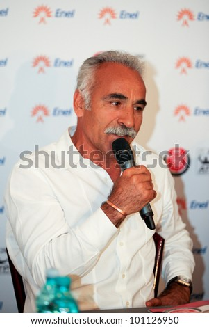 BUCHAREST, ROMANIA- APRIL 24:  Mansour Bahrami speaks to the media and smiles during BRD Nastase Tiriac Trophy press conference, on April 24, 2012, at Arenele BNR, in Bucharest, Romania