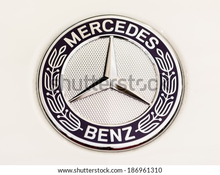 BUCHAREST, ROMANIA - APRIL 04, 2014: Mercedes Benz Sign Close Up. Founded in 1926 is a German luxury automobile manufacturer, a multinational division of the German manufacturer Daimler AG. - stock photo