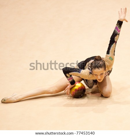 BUCHAREST, ROMANIA - APRIL 3: Natalia Azevedo performs during the Irina Deleanu Orange Trophy on April 3, 2011 in Bucharest, Romania - stock photo
