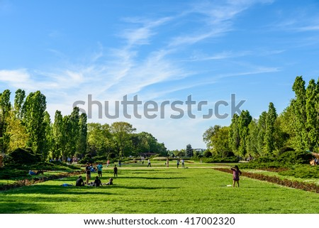 BUCHAREST, ROMANIA - APRIL 16, 2016: People Having Fun In Herastrau Public Park On Spring Day.