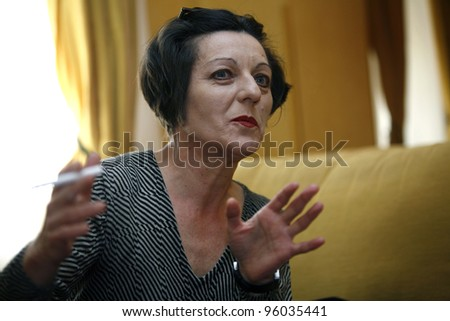 BUCHAREST, ROMANIA - APRIL 9: Romanian author Herta Muller, the 2009 Nobel Prize winner for literature, speaks during an interview in Bucharest, Romania,  on Thursday,  April 9, 2008.