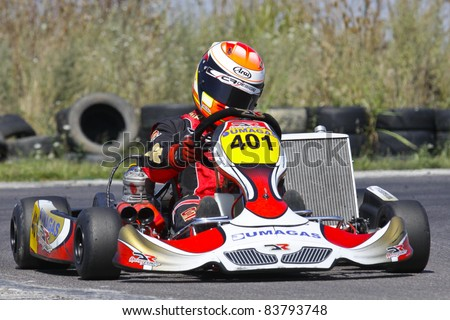 BUCHAREST, ROMANIA - AUGUST 21: David Dugaesescu, number 401, competes in National Karting Championship, Round 5, on August 21, 2011 in Bucharest, Romania.