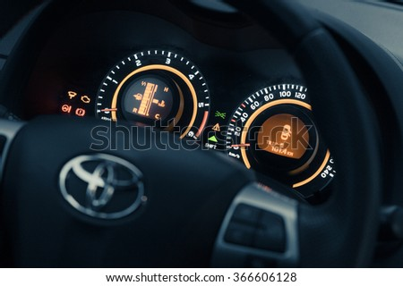 BUCHAREST, ROMANIA - AUGUST 25: Interior of the brand new car Toyota Corola in showroom in Bucharest, Romania on 25 August, 2014 - stock photo