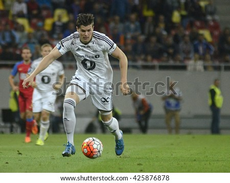 BUCHAREST, ROMANIA - AUGUST 20, 2015: Pal Andre Helland pictured during the Europa League game between FC Steaua Bucharest and Rosenborg BK at National Arena. Rosenborg won, 3-0. - stock photo