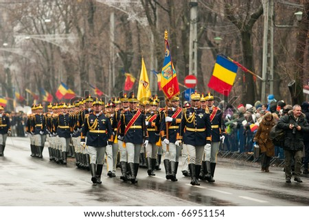 BUCHAREST, ROMANIA-DEC. 1: Military Parade on National Day of Romania, Arc de Triomphe, December 1, 2010 in Bucharest - stock photo