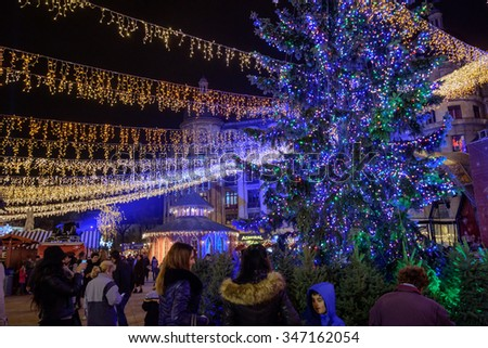 Bucharest, Romania - December 03, 2015: Christmas market at night in Bucharest downtown, at the University Square.