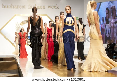 BUCHAREST, ROMANIA - DECEMBER 3: Fashion models wear clothes from Wanda's Dream collection, in Bucharest Fashion Week at World Trade Center on December 3, 2011 in Bucharest, Romania - stock photo