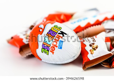 BUCHAREST, ROMANIA - DECEMBER 02, 2015: Kinder Chocolate is a confectionery product brand line of Italian confectionery multinational Ferrero. - stock photo