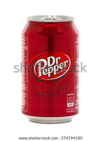 BUCHAREST, ROMANIA - FEBRUARY 8, 2016. Can of Dr Pepper. Dr Pepper is a carbonated soft drink marketed as having a unique flavor. The drink was created in the 1880s.
