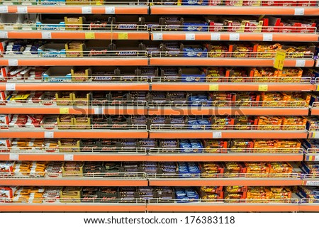 BUCHAREST, ROMANIA - FEBRUARY 10, 2014: Chocolate Sweets On Supermarket Shelf On February 10, 2014 In Bucharest, Romania. - stock photo