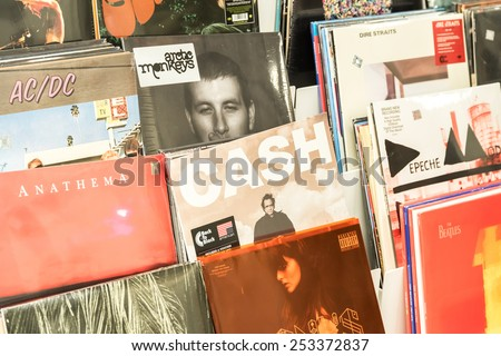 BUCHAREST, ROMANIA - FEBRUARY 13, 2015: Vinyl Records Featuring Famous Rock Music For Sale In Music Media Shop.