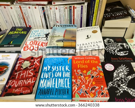 BUCHAREST, ROMANIA - JANUARY 22, 2016: English Books For Sale On Library Shelf.