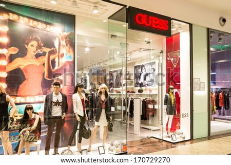 BUCHAREST, ROMANIA - JANUARY 11: Guess Shop on January 11, 2014 in Bucharest, Romania. Is an American upscale clothing line brand and during the 1980s was one of the most popular brands of jeans.