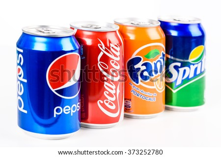 BUCHAREST, ROMANIA - JANUARY 16, 2016: Pepsi, Coca Cola, Sprite And Fanta are the most famous carbonated soft drinks sold in stores, restaurants, and vending machines all around the world. - stock photo