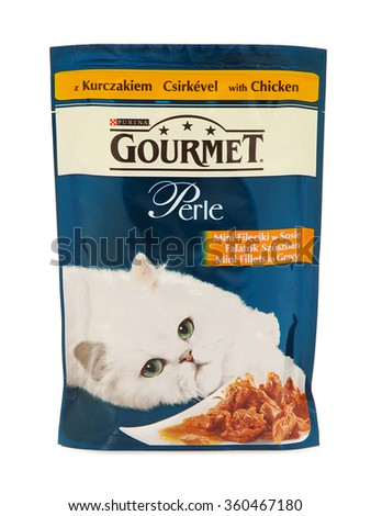 BUCHAREST, ROMANIA - JANUARY 10, 2015. Purina Gourmet Perle, pouches of wet cat food. Purina Gourmet Perle is an artful selection of choice ingredients combined with a unique recipe. - stock photo