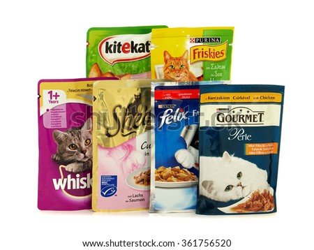 BUCHAREST, ROMANIA - JANUARY 12, 2016. Various brands of wet cat food that can be purchased on the European market.  - stock photo
