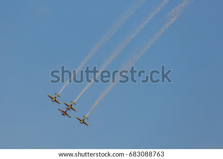 BUCHAREST, ROMANIA - JUL 22: Acrobatic flights during the BIAS SHOW 2017 held on Jul 22th 2017 in Baneasa - Bucharest, Romania.
