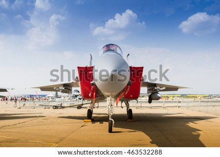 "BUCHAREST, ROMANIA - JULY 30, 2016: Front view with static display of F-15 Eagle aircraft at International Aviation Show ""BIAS"" 2016"