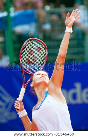 BUCHAREST, ROMANIA - JULY 19: Romanian tennis player Liana-Gabriela Ungur  in action during BCR Open Ladies on July 19, 2011 in Bucharest, Romania