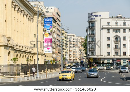 BUCHAREST, ROMANIA - JULY 20, 2015: Rush Hour On Victory Avenue (Calea Victoriei) Downtown Of Bucharest City.