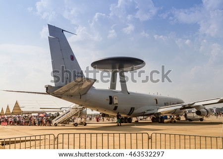 BUCHAREST, ROMANIA - JULY 30, 2016: Static display of NATO AWACS plane at International Aviation Show BIAS 2016