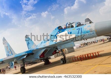 BUCHAREST, ROMANIA - JULY 30, 2016: Static display of SU-27 aircraft at International Aviation Show BIAS 2016