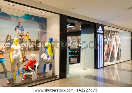BUCHAREST, ROMANIA - JUNE 13: Adidas Store on June 13, 2013 in Bucharest, Romania. Is a German multinational corporation that designs and manufactures sports clothing and accessories based in Germany.