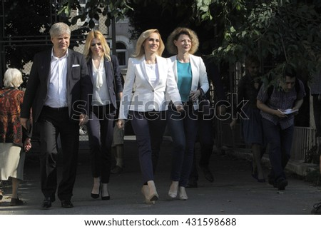 BUCHAREST, ROMANIA -June 05, 2016: Gabriela Firea, the candidate of Social Democrat Party (PSD) for Bucharest Mayor, votes during the local elections. - stock photo