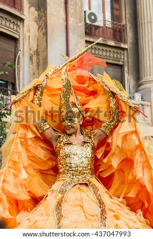 "BUCHAREST, ROMANIA - JUNE 09, 2016: Golden Angel & Sol theater show (Germany), inside of International Festival of Street Theater, ""B-FIT in the street 2016"""