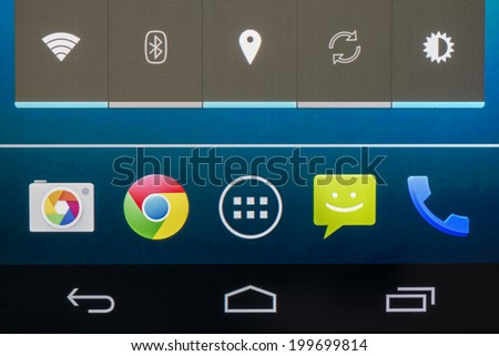 BUCHAREST, ROMANIA - JUNE 19, 2014: Google Chrome Application On Google Nexus 5 Smart Phone. It is a freeware web browser developed by Google for personal computers and all mobile devices. - stock photo