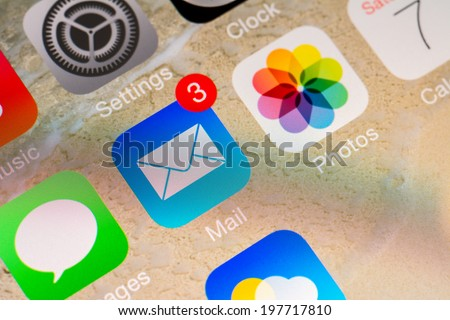 BUCHAREST, ROMANIA - JUNE 07, 2014: Mail Received Notification On Apple iPhone 5S. The Electronic Mail Is One Of The Most Utilized Functions On Modern Smartphones. - stock photo