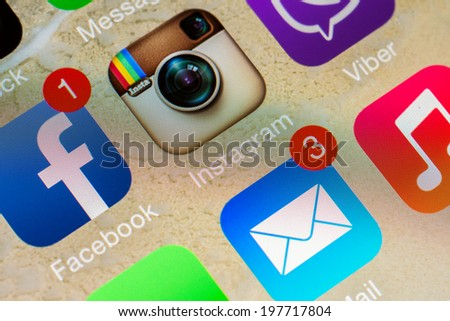 BUCHAREST, ROMANIA - JUNE 07, 2014: Social Media Applications Icons Of Facebook, Instagram And Viber On Apple iPhone 5S. Social Media Is One Of The Most Utilized Functions Of Modern Smartphones. - stock photo