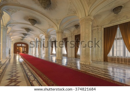 BUCHAREST, ROMANIA - MARCH 22: Interior shot with the Palace of Parliament on March 22, 2015 in Bucharest. The People's Palace was built by communist dictator Nicolae Ceausescu during the 1980's