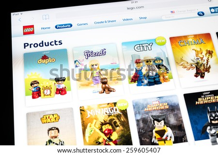 BUCHAREST, ROMANIA - MARCH 10, 2015: Lego Website On Apple iPad Air Tablet. From 1949 Lego consists of colourful interlocking plastic bricks and an array of gears and minifigures.