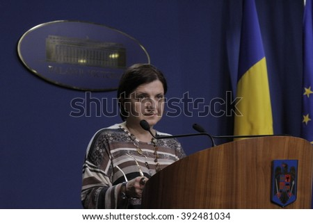 Bucharest, Romania, March 11, 2016: Minister of Justice Raluca Pruna declares that prosecutors will use tapping infrastructure of the Romanian Information Service (SRI). - stock photo